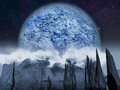 Alien planet large blue moon night rises over a cloudy landscape with a lake artist impression of fantasy landscape Royalty Free Stock Image