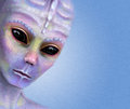 Alien portrait background scifi featuring a colorful face Royalty Free Stock Images