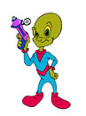 Alien With Ray Gun cartoon Stock Images