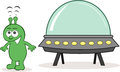 Alien receiving signals cartoon from space with spaceship Royalty Free Stock Photo
