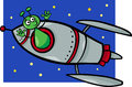 Alien in rocket cartoon illustration of funny or martian comic character the or spaceship Royalty Free Stock Photography