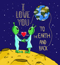 Alien's love. Valentine's day greeting card. Royalty Free Stock Photo