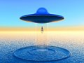 Alien science fiction illustration teleportation Stock Photo