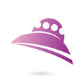 Alien ship purple icon isolated on white Royalty Free Stock Image