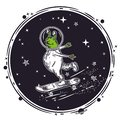 The alien skates on a skateboard. Vector illustration.