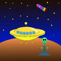 Alien spacecraft on the mars Stock Photo
