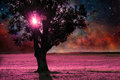 Alien tree red landscape with alone silhouette in purple field elements of this image are furnished by nasa Royalty Free Stock Photo