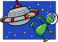 Alien with ufo cartoon illustration of funny or martian comic character flying saucer or spaceship or Stock Photo
