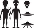 Alien ufo silhouette set Stock Images
