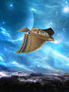 Alien World Flying UFO Illustration Royalty Free Stock Photo