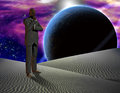 Alien worlds checkered man on exo planet Stock Image