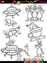 Aliens cartoon set for coloring book or page illustration of black and white fantasy or martians ufo comic mascot characters Royalty Free Stock Photography
