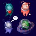 Aliens in a cartoon style