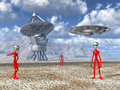 Aliens on Earth discover a giant telescope Royalty Free Stock Photo