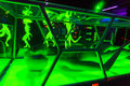 Aliens in game room decorations laser tag Royalty Free Stock Images