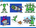 Aliens or martians cartoon characters set illustrations of fantasy comic mascot Royalty Free Stock Photography