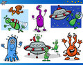 Aliens or martians cartoon characters set illustrations of fantasy comic mascot Royalty Free Stock Image