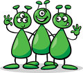 Aliens or martians cartoon illustration of three funny comic characters Royalty Free Stock Images