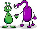 Aliens or martians cartoon illustration of two funny comic characters shaking hands Stock Image