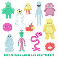 Aliens and monsters cartoon style vector set Royalty Free Stock Photo