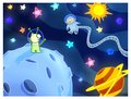 stock image of  Aliens postcard illustration space stars sun planets