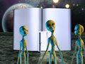 Aliens story book with figures Royalty Free Stock Photography