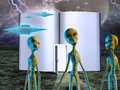Aliens story book with saucers Royalty Free Stock Images