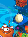 The aliens subject ufo star kindergarten menu screen space for text happy and funny mood illustration for the chil colorful Stock Image