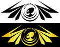 Aliens surrounded by wings and inscription alien logo