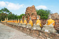 Aligned buddha statues with orange bands in ayutthaya thailand Stock Photo