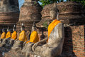 Aligned buddha statues at wat yai chaimongkol ayutthaya Stock Photography