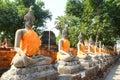 Aligned buddha statues Royalty Free Stock Photo