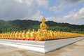 Aligned statues of Buddha Royalty Free Stock Photo