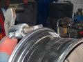 Alignment of drives titanium on straightening machine Stock Photos