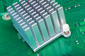 Aliminium Heatsink on Circuit Board Stock Photo