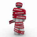 Alimony man wrapped in red tape caught trapped ex wife spousal s word on around husband owing support to as legal settlement and Royalty Free Stock Images