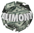 Alimony word d money ball financial obligation ex spousal suppo in white letters on a or sphere of to illustrate support of Royalty Free Stock Images
