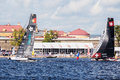 Alinghi and Sail Portugal catamarans on Extreme Sailing Series Act 5 catamarans race on 1th-4th September 2016 in St. Petersburg Royalty Free Stock Photo
