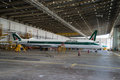 Alitalia super md an aircraft inside hangar in rome fiumicino leonardo da vinci airport Stock Photography