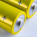 Alkaline batteries macro two on white background Stock Photography