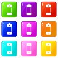 Alkaline battery icons 9 set