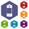Alkaline battery icons set hexagon