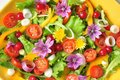 Alkaline colorful salad with flowers fruit and vegetables raw ribes onion tomato corn vegan raw dish fresh Stock Photography
