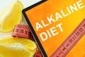 Alkaline diet on tablet.