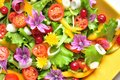 Alkaline salad with flowers fruit and vegetables raw ribes onion tomato corn vegan raw dish fresh Stock Photo