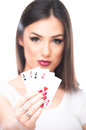 All aces in my hand girl holding four her with focus on cards isolated on white Stock Images