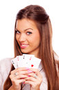 All aces in my hands beautiful brunette holding four her isolated on white Royalty Free Stock Photography