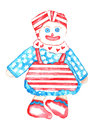 All american rag doll watercolor with a red and white stripe blue and white stars and hearts dress Royalty Free Stock Images