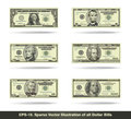 All Dollar Bills Flat Royalty Free Stock Photo