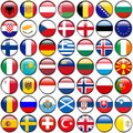All European Flags - circle glossy buttons. Every button is isolated on white background Royalty Free Stock Photo